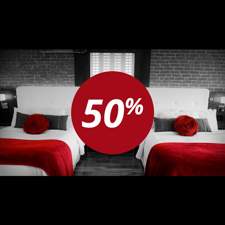 50 % discount on the 2nd night at regular rate!